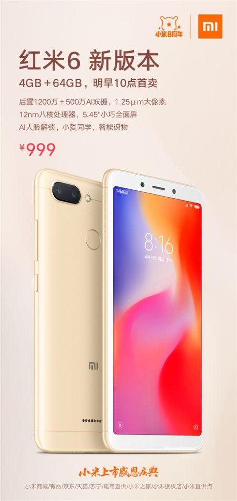 Xiaomi Redmi 6A versão 4 / 64GB