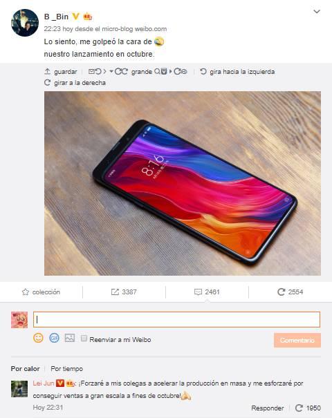 CEO Xiaomi bevestigt Mi Mix 3 in oktober en presenteert de foto