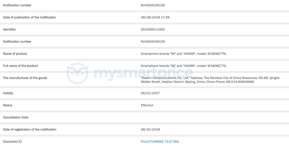 Xiaomi Redmi Note 6 denne gang bemærket i Rusland