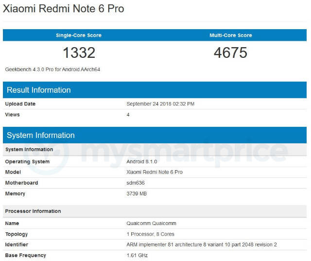Xiaomi Redmi Eslatma 6 Pro GeekBench-da qo'lga olindi