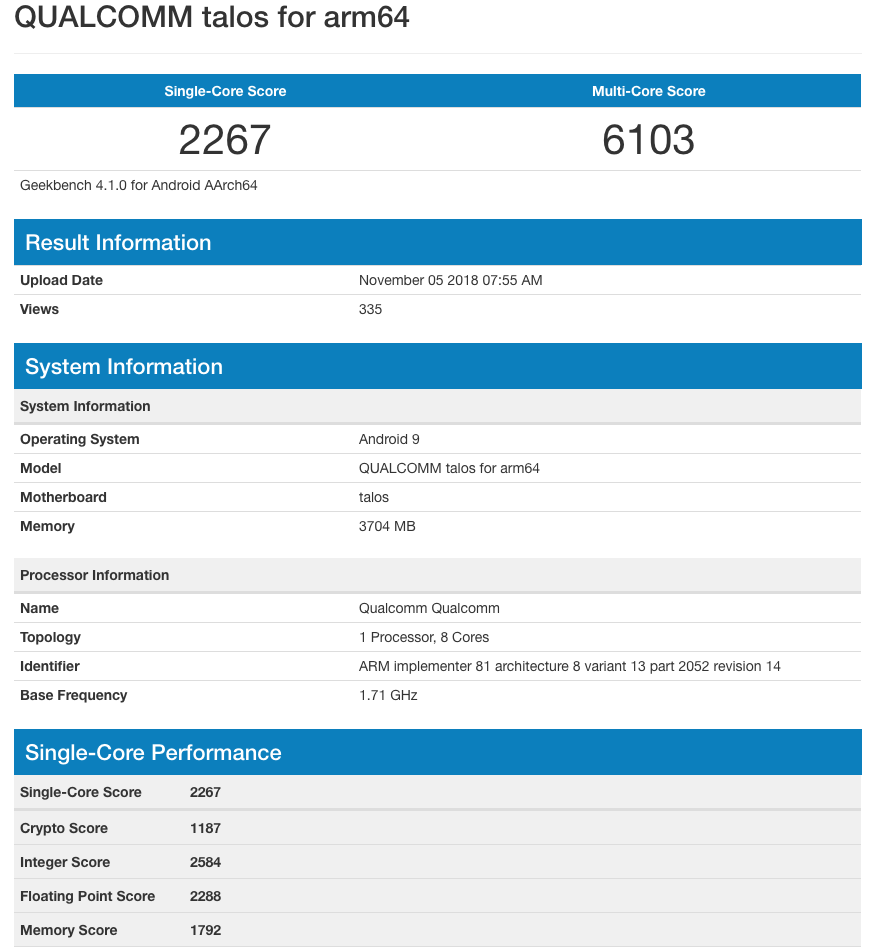The Snapdragon 675 processor appeared in the Geekbench test