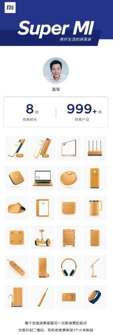 Xiaomi CEO shows a list of the most used products with the Mi logo